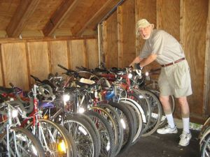 George Kurz with Pennswood Village's 2014 Bikes for the World donation