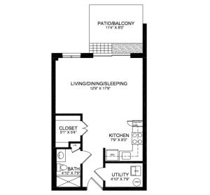 Pennswood Village Studio Floor plan
