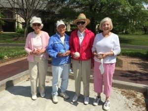 Bocce competitors prepare to practice for the Bocce League Tournament. (Left to right: Ginny Schmunk, Peg Van Hise, Nancy Haulenbeek, Lee Endries)