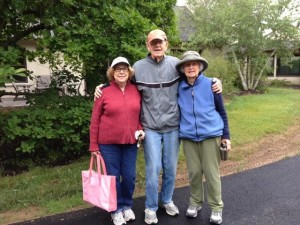 Four dedicated and tough Bocce competitors braved the rain for two frames, but finally had to succumb to the storm… (Left to right: Betty Messick, Ev & Kay Pinneo…not pictured: Amelia Marini)